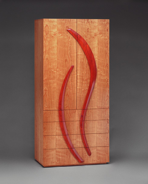 Cherry Armoire: Cherry Cabinet, Slightly Over Six Feet Tall With Carved  Handles Made Of Padauk. There Are Drawers In The Lower Section And Shelves  In The ...