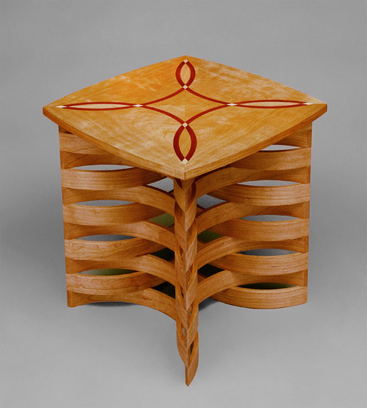Cherry and Paduk Side Table Inlaid