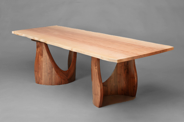 Sycamore and Walnut Dining Table